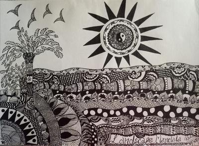 My Fisrt Landscape Mandala Drawing