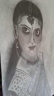 pencil sketch of devasena