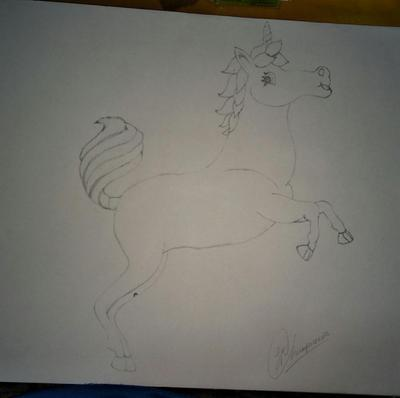 Pencil sketch of unicorn