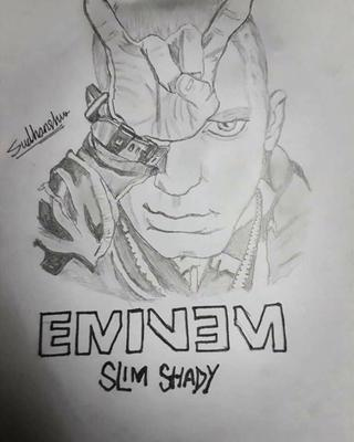 This portrait of Eminem  is made by me in 1 hr. I hope you ppl like it.please comment and tell me how's it.