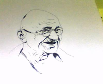 RAPID DRAWING OF GANDHI