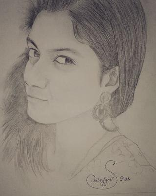 sketch of Joyita Bhattacharya by subrojyoti Das (subhrajyoti das)