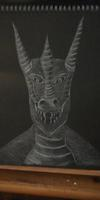 Dragon on black paper