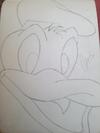 Pencil sketch of cartoon character (duck)