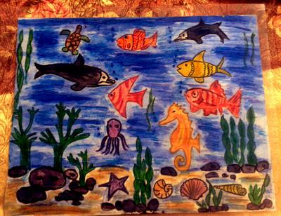 under ocean  scene