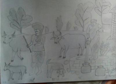 Village scene sketch