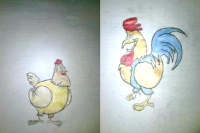 a cock with hen