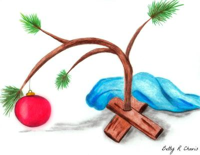 Christmas Pencil Drawings Easy.Colored Pencil Drawing Of Charlie Brown Christmas Tree