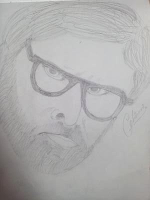 Amitabh bhachan pencil sketch