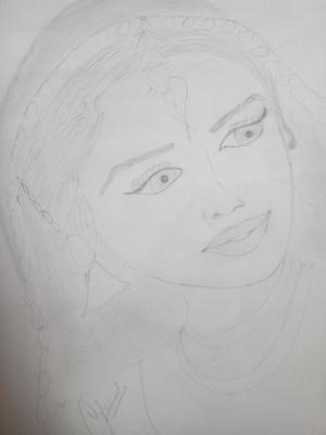 Pencil sketch of madhuri mam