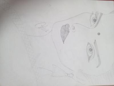Pencil sketch of rekha mam