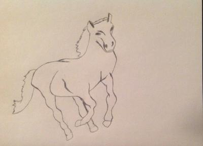 First drawing of a prancing horse