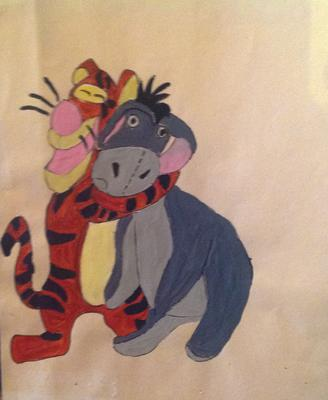 Garfield and Eeyore drawing and painting