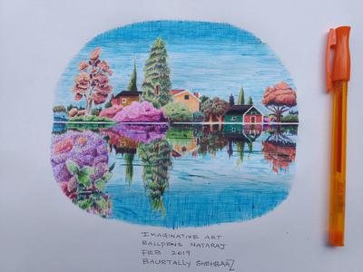 Scenery with colored ball pens1
