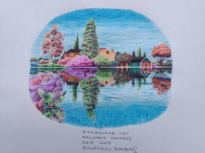 Scenery with colored ball pens2