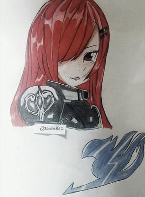 My second drawing of Erza of Fairy Tail (@Nashi7512)