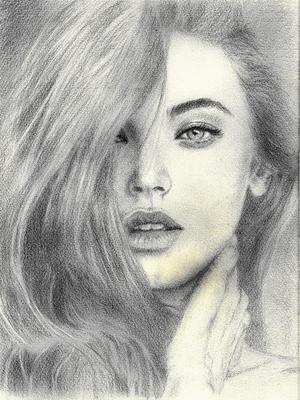 Pencil drawing girl02