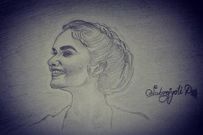 sketch of Anushka Sen.