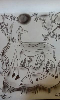 son and mother deer
