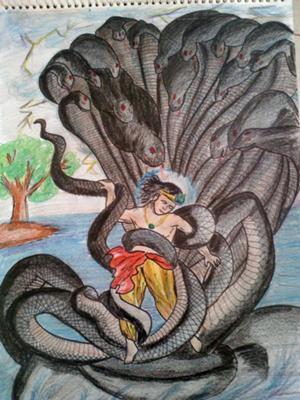 Lord Krishna fighting with Kalingasarp
